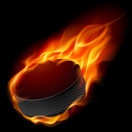 Burning hockey puck. Illustration for design on black background  Vector