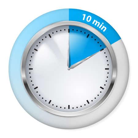timepiece: Blue Timer Icon. Ten Minutes. Illustration on white.
