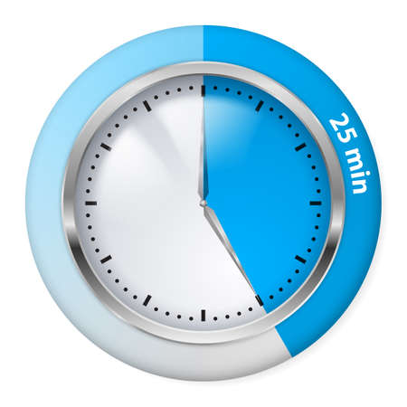 timepiece: Blue Timer Icon. Twenty-five Minutes. Illustration on white.