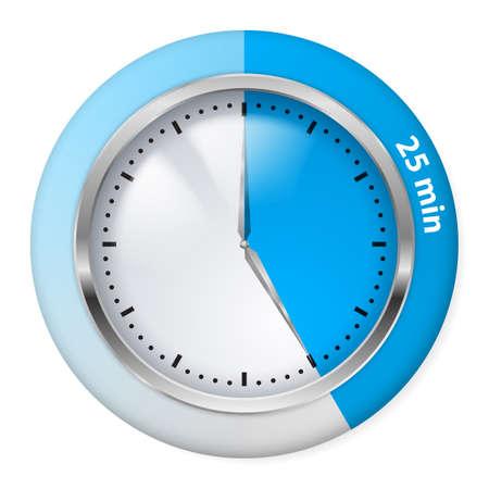 orologio da parete: Timer icona blu. Venticinque minuti. Illustrazione su bianco.