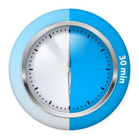 Blue Timer Icon. Thirty Minutes. Illustration on white. Illustration