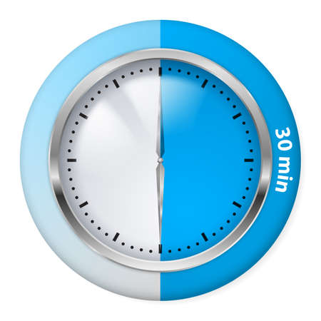 timepiece: Blue Timer Icon. Thirty Minutes. Illustration on white. Illustration