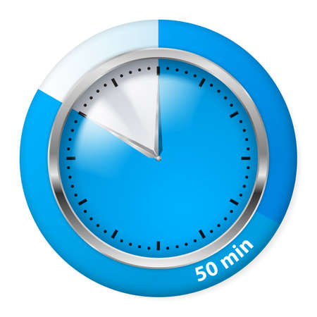 fifty: Blue Timer Icon. Fifty Minutes. Illustration on white.