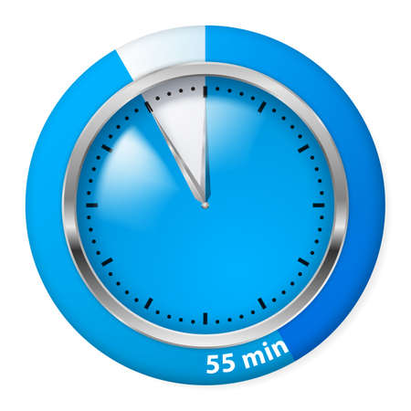 Blue Timer Icon. Fifty-five Minutes. Illustration on white. Vector