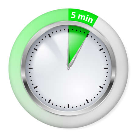 Green Timer icon. Five minutes. Illustration on white. Vector