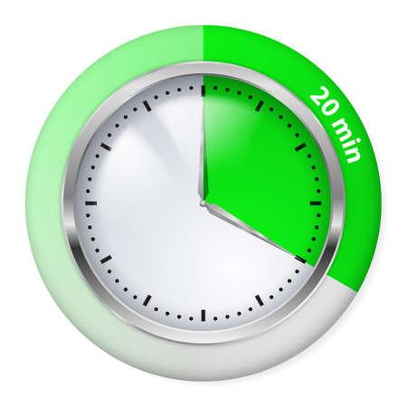 timepiece: Green Timer Icon. Twenty Minutes. Illustration on white.