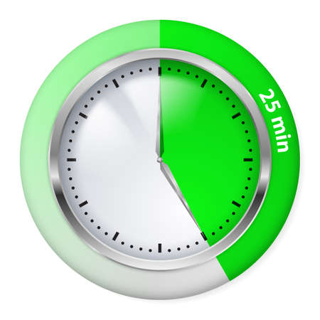 timepiece: Green Timer Icon. Twenty-five Minutes. Illustration on white. Illustration