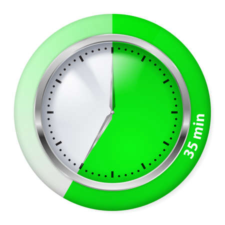 green timer icon thirty five minutes illustration on white