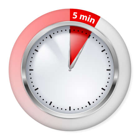 Red Timer Icon. Five Minutes. Illustration on white. Vector