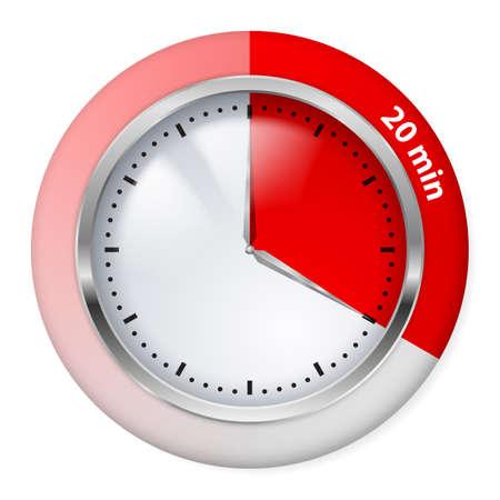 Icono del temporizador Rojo. Veinte minutos. Ilustración en blanco.