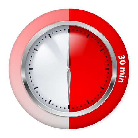Red Timer Icon. Thirty Minutes. Illustration on white. Vector