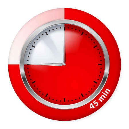 timepiece: Red Timer Icon. Forty-five Minutes. Illustration on white.
