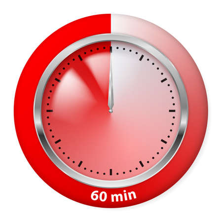 Red Timer Icon. Sixty Minutes. Illustration on white. Vector