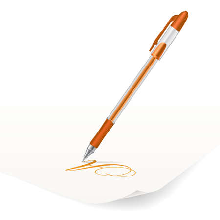 Vector image of orange ballpoint pen writing on paper Vector