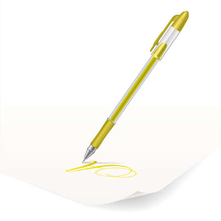 Vector image of yellow ballpoint pen writing on paper Vector
