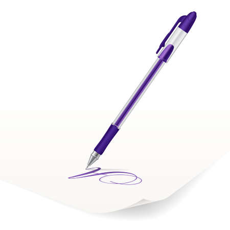Vector image of violet ballpoint pen writing on paper Vector