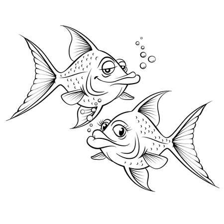 zwart wit tekening: Twee tekening cartoon vis. Illustratie voor ontwerp op een witte achtergrond