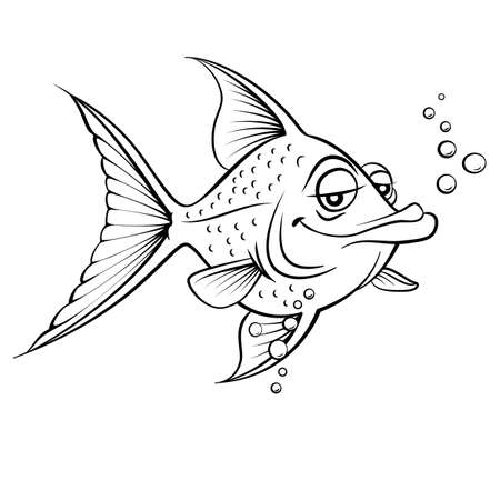 zwart wit tekening: Cartoon vis. Zwart-wit afbeelding op een witte achtergrond