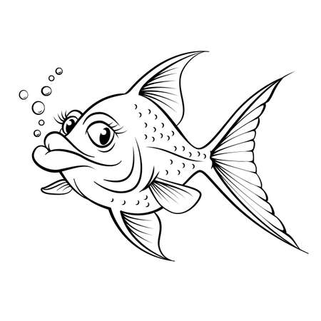 black and white line drawing: Cartoon drawing fish. Illustration for design on white background