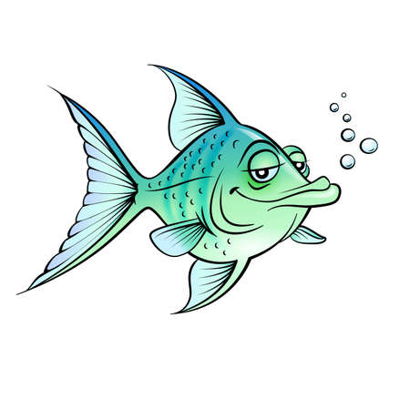 fish drawing: Green cartoon fish.  Illustration for design on white background    Illustration