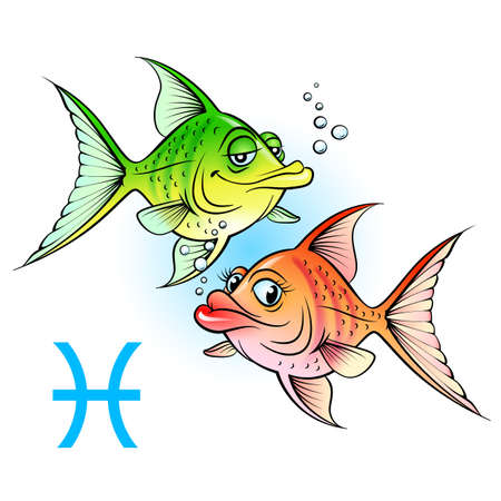 sagitario: Los signos del zodíaco. Dos dibujos animados de pescado. Ilustración en blanco