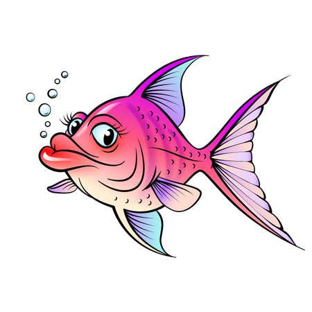 mare agitato: Cartoon pesce. Illustrazione per la progettazione su sfondo bianco