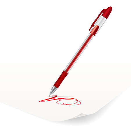 writing letter: Vector image of red ballpoint pen writing on paper