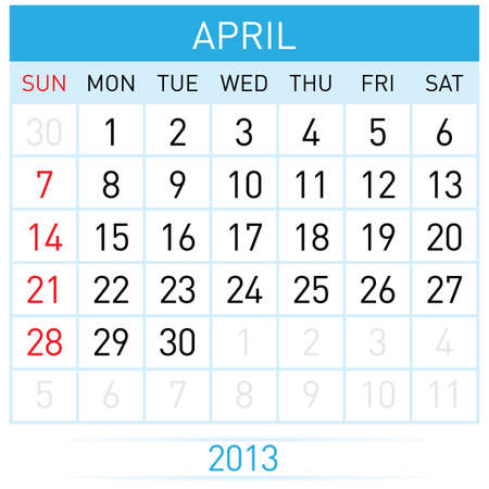 appointments: April Twenty-thirteen. Calendar Month. Illustration on white background