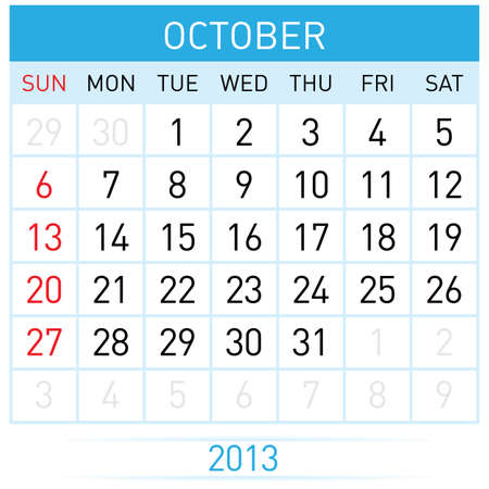 appointments: October Twenty-thirteen. Calendar Month. Illustration on white background