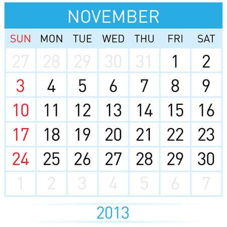 calendario noviembre: Veintinueve de noviembre trece años. Calendario mensual. Ilustración sobre fondo blanco Vectores