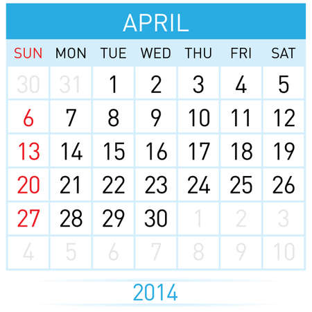 April Twenty-Fourteen. Calendar Month. Illustration on white background Stock Vector - 14657620