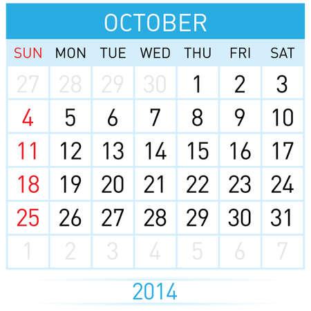 calendario octubre: Veinticinco de octubre de Catorce. Calendario mensual. Ilustración sobre fondo blanco Vectores
