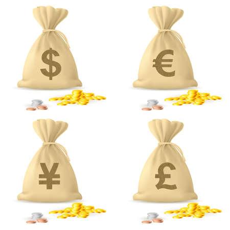 dinero euros: Juego de bolsas de dinero. Ilustraci�n sobre fondo blanco Vectores