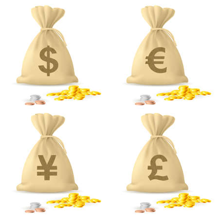 bag of money: Set of Money Bags. Illustration on white background
