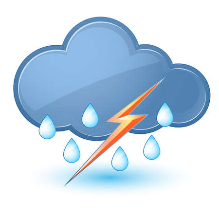 rain cartoon: Single weather icon - Cloud with Rain and Lightning Illustration