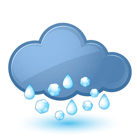 granizo: Icono del tiempo individual - nube con lluvia y granizo