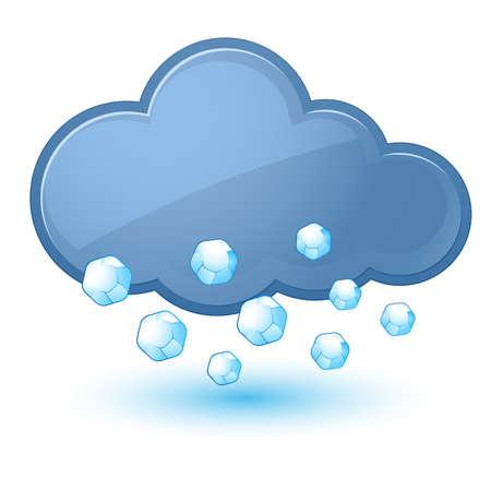 granizo: Icono del tiempo individual - nube con granizo. Ilustraci�n en blanco Vectores