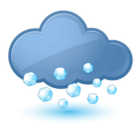 hail: Single weather icon - Cloud with Hail. Illustration on white