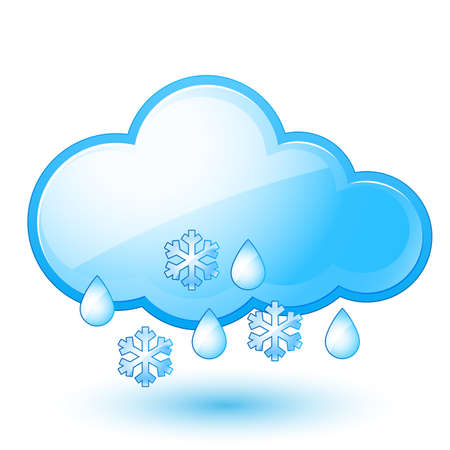 Single weather icon - Cloud with Snow and Rain Stock Vector - 14657595