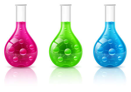 beakers: Test tube set on a white background. Illustration for design