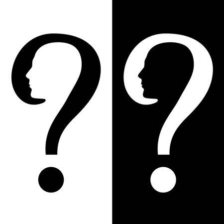 denkender mensch: Symbol der Frage. Illustration auf wei�em und schwarzem Hintergrund
