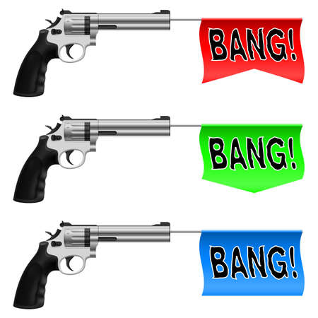 Guns with Bang Flags. Illustration on white background Vector