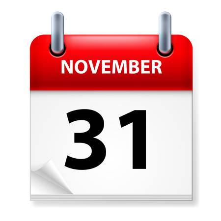Thirty-first November in Calendar icon on white background Stock Vector - 14657602