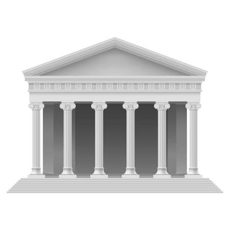 templo griego: Portico grande un templo antiguo. Columnata. Ilustración en blanco Vectores