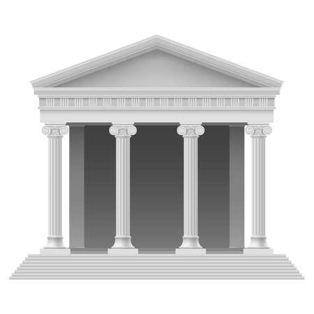 Pórtico de un templo antiguo. Columnata. Ilustración en blanco
