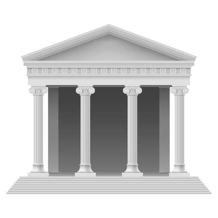 court: Portico an ancient temple. Colonnade. Illustration on white