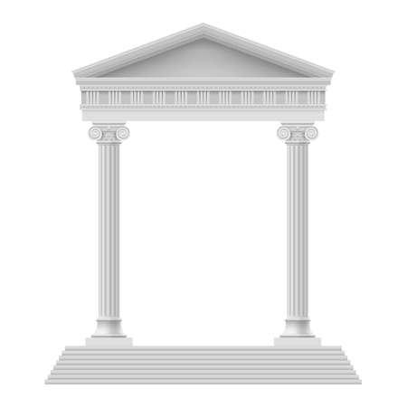 templo romano: Portico simple un templo antiguo. Columnata. Ilustración en blanco