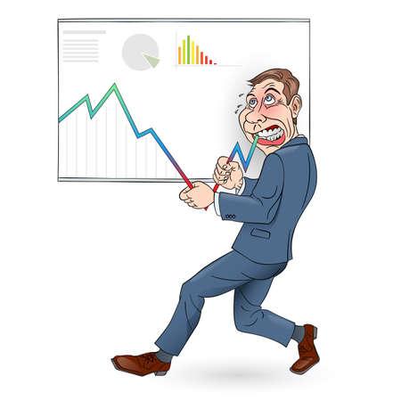 sales executive: Ilustraci�n de un hombre de negocios empujando el gr�fico hacia arriba. En Color.