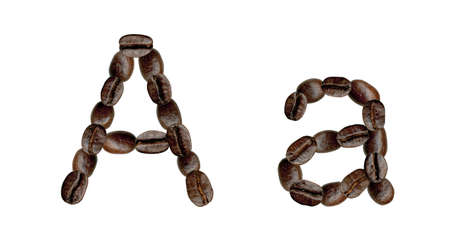 numeration: Alphabet symbol A from coffee beans. Illustration on white Stock Photo