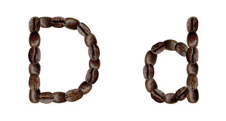 Alphabet symbol D from coffee beans. Illustration on white illustration